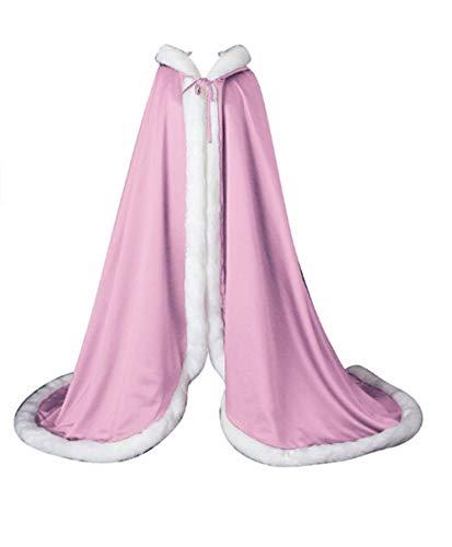 FJMM Hooded Cloak Wedding Cape with Fur Trim for Adult Bride Winter Pink]()