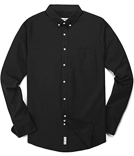 Long Sleeve Oxford Oxford Shirt - Men's Oxford Long Sleeve Button Down Dress Shirt with Pocket,Black,Large
