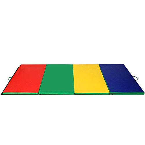 Exercise Mat 4'x10'x2 Gymnastics Folding Panel Thick Gym Fitness Multicolor with Ebook
