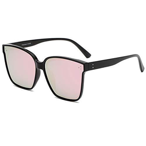 DUSHINE Oversized Square Polarized Sunglasses For Women With Rivets Retro Vintage UV Protection