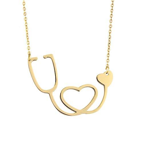 KUIYAI Dainty Stainless Steel Doctor Nurse Stethoscope Necklace with Heart