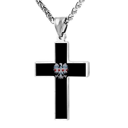 - Elelab Cool Polish Eagle Chicago Flag Cross Necklace Zinc Alloy Pendant Creative Personalized Accessories Prayer Christian 24 Inch