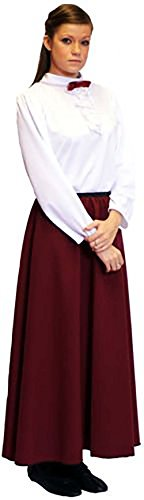 Evacuee Dressing Up Costumes (Stage-World Book Day-Poppins-Victorian-School Play GOVERNESS BLOUSE & BURGUNDY SKIRT Adult's Fancy Dress Costume - All Size's (LADIES 28-30))