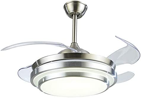 Fandian 42Inch Modern Ceiling Light with Fans Remote Control Retractable Blades for Living Room Bedroom Restaurant, Silver Color with Silent Motor 42In-1