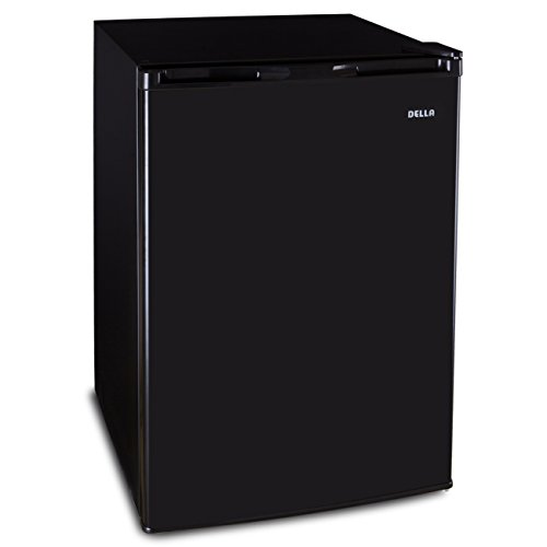 Della Deep Upright Electric Mini Refrigerator Freezer 4.5 Cubic Feet Compact RV Home Fridge Reversible Door, Black