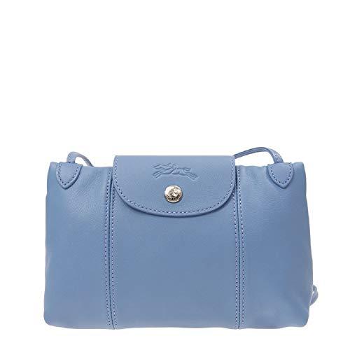 Longchamp Women's Leather Le Pliage Cuir Crossbody Bag Light Blue