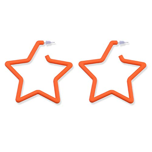 GUNIANG Large Colorful Star Orange Hoop Earrings for