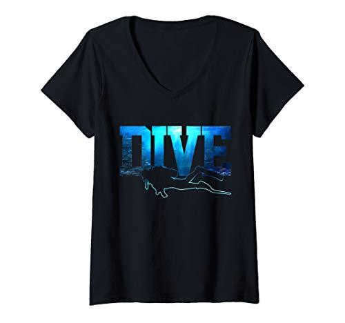 Womens Scuba Diving - DIVE Ocean Scuba Diver Gift V-Neck T-Shirt