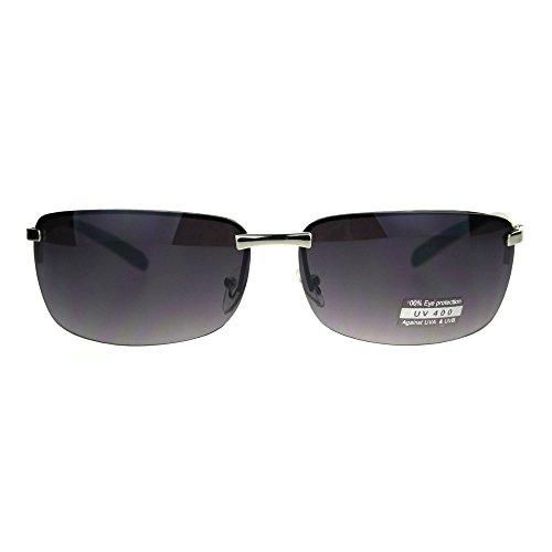 Rimless Rectangular Mens Agent Designer Narrow Metal Sunglasses - Sunglasses Rectangular Narrow