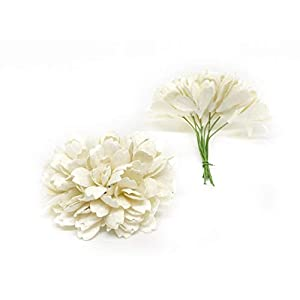 Savvi Jewels 2.5cm White Mulberry Paper Flowers with Wire Stems, Babys Breath Flowers, Mini Artificial Paper Flowers, Wedding Decor Craft Flowers 50 Pieces 2