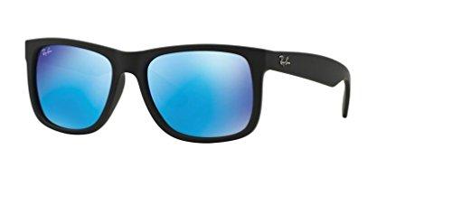 Ray-Ban Justin RB4165 622/55 51M Black Rubber/Green Mirror Blue