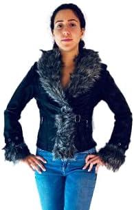 Vegan Leather Short Jacket , Parka. Peluche.