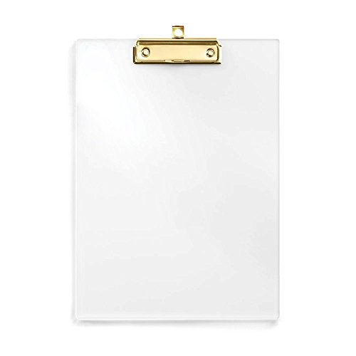 UNIQOOO Thick Clear Acrylic Clipboard with Polished Gold Clip, Perfect for Modern Arts Lover, Calligrapher, Office, Seminars, Workshops and Events (Clear Acrylic Clipboard)