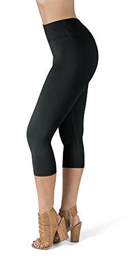 - 31mqGULbVlL - SATINA High Waisted Super Soft Capri Leggings – 20 Colors – Reg & Plus Size