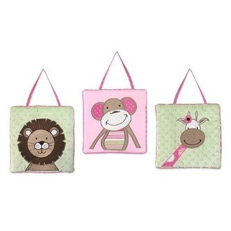 Baby Zoo Wall Hanging - Three Piece Pink Green Brown Baby Safari Plush Wall Art Set, Nursery Zoo Animal Themed Hanging Decor, Infant Jungle Animal Lion Monkey Giraffe Wild Kids Cute Adorable Childrens Home Accent, Cotton