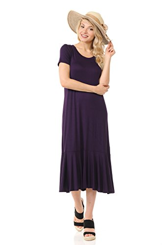 iconic Women's Line Eggplant Ruffle Dress A luxe Hemline Midi PvqWwxPr45