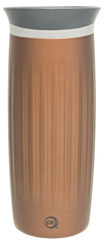 Zak! Designs Planet Zak Stainless Steel Fluted Thermal Tumbler, Vacuum Sealed Double Wall Insulation with Thermal Leak-Proof Lid, 16 oz. Capacity, Chestnut - Stainless Fluted