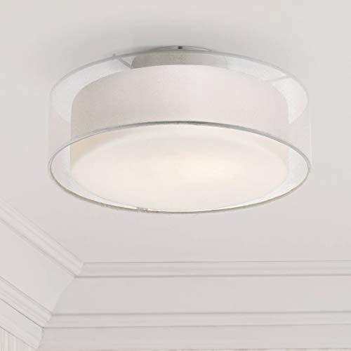 (Modern Ceiling Light Flush Mount Fixture Sheer Opal White Dual Drum Shade 12 1/2