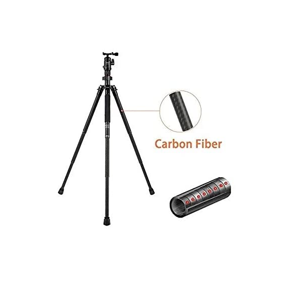 RetinaPix Fotopro X-Aircross 1 Carbon Fiber 4.5ft Tripod Stand with Ball Head for DSLR Camera Payload 8Kg (Matt Gray)