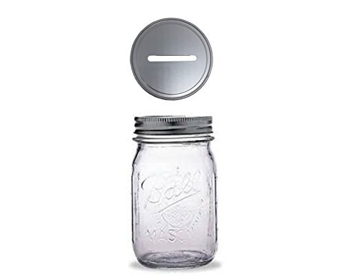 iece Slotted Lid Regular Mouth Pint 16 Oz Piggy Bank for All Ages (Clear) (Christmas Raffle Tickets)