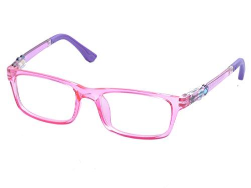 DEDING Kinder optische Brillenfassung mit Federscharnier (Rosa)