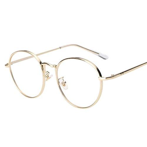 Misaky Unisex Clear Lens Glasses Metal Spectacle Eyewear Frame Myopia Eyeglasses (U_Gold, - Gold Spectacles