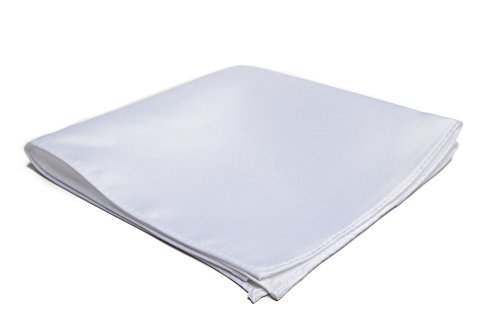 Jacob Alexander Men's Pocket Square Solid Color Handkerchief - White ()