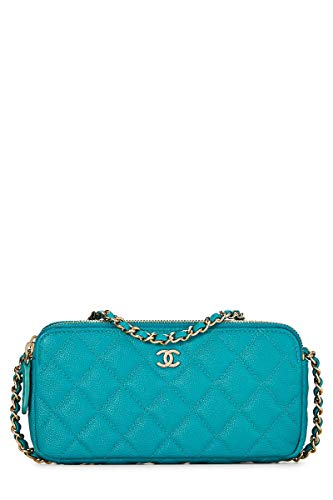 CHANEL Teal Quilted Caviar Wallet on Chain (WOC) - Caviar Chanel