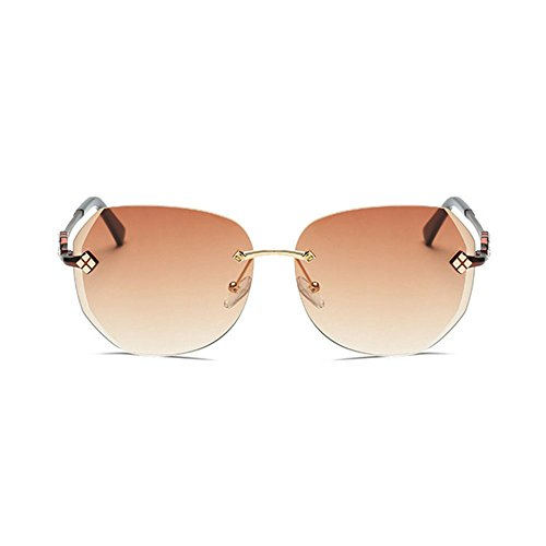Aoligei Pointe de diamant sans cadre Dame lunettes de soleil océanique dégradé couleur grand châssis lunettes de soleil lunettes E