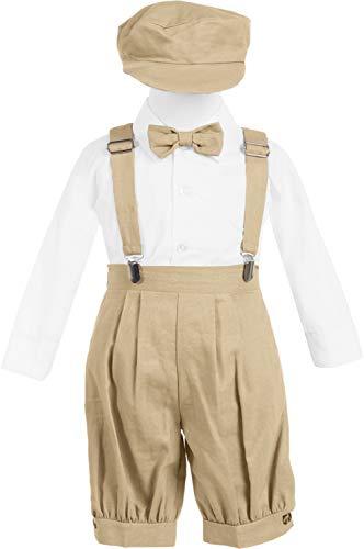 Baby Toddler Boys Formal Wear Rings Bearer Vintage Knicker Suspender Bowtie 5pcs Suit Set White/Khakhi 3-6M