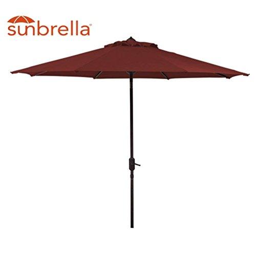 Sunbrella Patio Umbrella 9-Feet Outdoor Market Table Umbrella with Auto Tilt & Crank (Sunbrella, Red (Cornell)) (Sunbrella Patio Umbrellas)