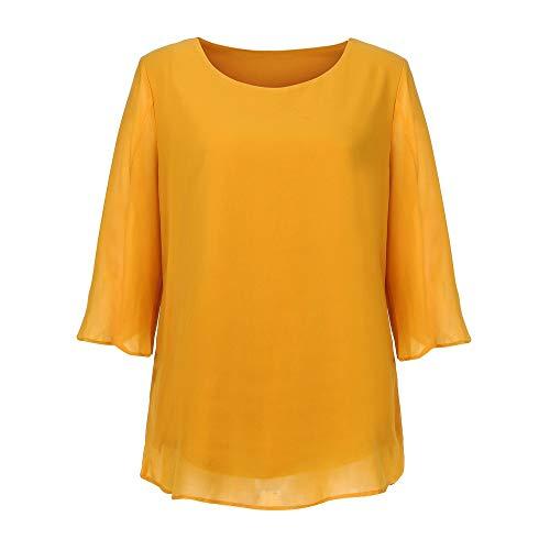 Haut Soie Mousseline Manches T Jaune Femmes Chemisier MORCHAN Solide Shirt Mode Quarts Trois Champion de zwIBPHP
