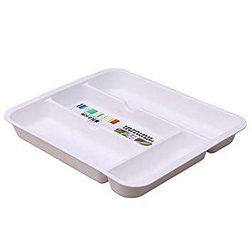 GreenSun(TM) Organizador de vajilla caja de almacenamiento cubertería bandeja multiusos acabado cajones cajas de cocina cubertería cajón organizador: ...