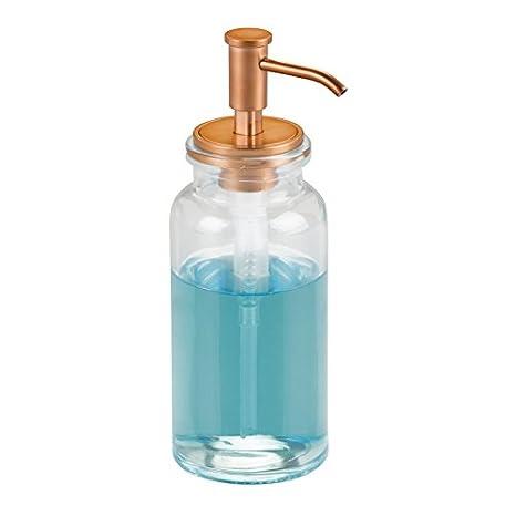 mDesign Dispensador de jabon rellenable - Dosificador de jabon en vidrio con capacidad de 443 ml - Dispensador de jabon liquido para cocina o baño ...