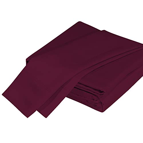 DTY Bedding Premium 100% Organic Bamboo Viscose 4-Piece King Bed Sheet Set, Luxuriously Soft and Comfortable, Oeko-TEX Certified Bamboo Sheets, Fits Mattresses up to 18 in - King, Merlot
