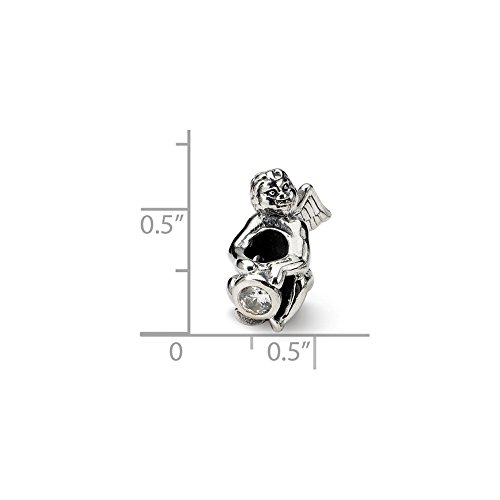 - Solid .925 Sterling Silver Reflections April CZ Antiqued Bead 16.36 mm