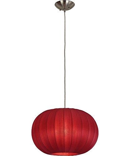 Carmine Iron - Trend Lighting TP7912-R Shanghai Oval Pendant, Medium, Sheer Carmine/Brushed Nickel