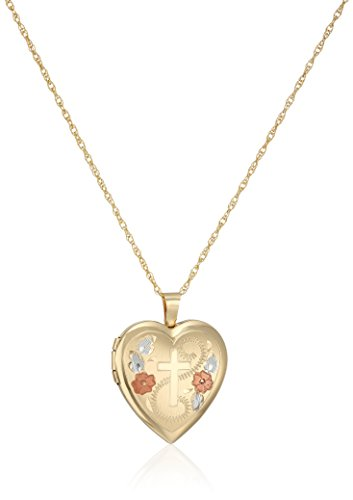 14k Gold-Filled Satin Finished Hand Engraved Cross Heart Pendant with Tricolor Locket Necklace, (Heart Tri Color Necklace)
