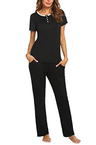 (HOTOUCH Women's Soft Lightweight Short Sleeve Henley Top and Bottom Pajama Sleepwear Set Black XXL)