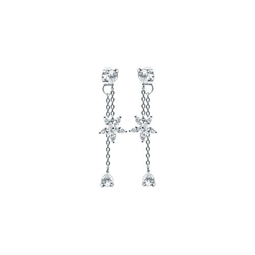 SLR Fashion ladies 925 sterling silver needle earrings/flowers zircon tassels long/creative silver earrings,Silver ()