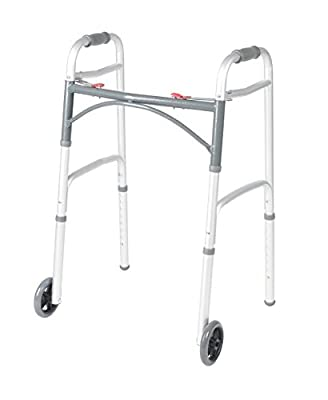 """Walker Deluxe Folding 2 Button with Front 5"""" Wheels By Healthline Trading"""