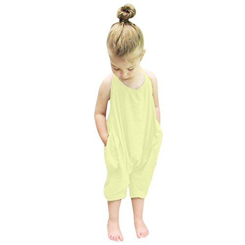 SanCanSn Toddler Kid Jumpsuits Baby Girls Straps Rompers Jumpsuits Piece Pants Solid Color Clothing Set (2T=100, Yellow)
