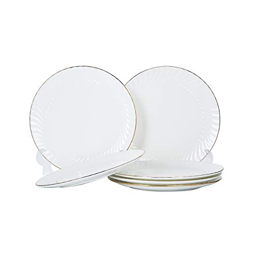 Pattern Gold Trim - Mose China, 6 Piece 8 inches White Bone China Dinner Plate Dinnerware Serving Plates Dishs with Gold Trim - Shell Pattern