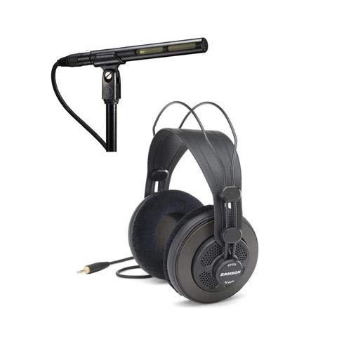 Audio Technica Shotgun Mic - Audio Technica AT875R Short Shotgun Condenser Microphone + Studio Headphones