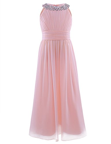 iiniim Girl's Sequined Halter-Neck Sleeveless Chiffon Long Gowns Pageant Party Prom Wedding Bridesmaid Flower Girl Dress Pearl Pink (Halter Wedding Gown Dress)