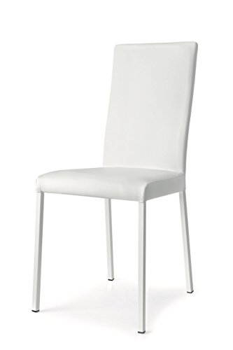 Connubia Garda Upholstered Chair - Metal Stained Matt Optic White Frame - Ekos White Seat (Chair Upholstered Calligaris)