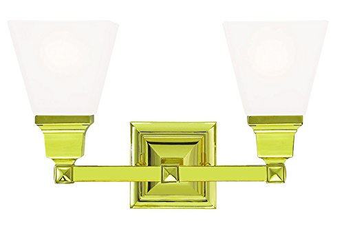Livex Lighting 1032-02 Mission 2-Light Bath Light, Polished Brass - Mission Bath Light