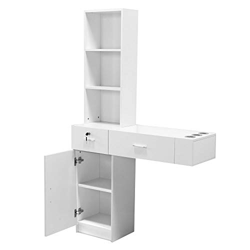 Alwaysprekit Wall Mount Hair Styling Station Wall Mount Beauty Salon Spa Mirrors Station Locking Beauty Salon Storage Desk With Drawers Cabinet 3 Tier Shelf Barber Station Drawer Storage (White)