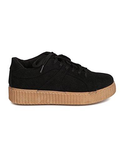 Qupid Kvinnor Faux Mocka Flatform Sneaker - Casual, Slappa, Urban Mode - Mocka Ranka Sneaker Gb86 Av Svart