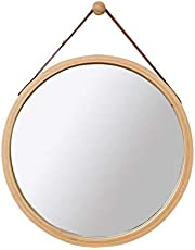WYAN Wall Round Mirror with Adjustable Faux Leather Hanging Strap|Bamboo Framed|Bathroom Wall-Mounted Vanity Mirrors Make-up Cosmetic Wall Hanging Mirror